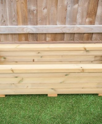 wooden trough planter