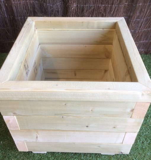 treated wooden planter