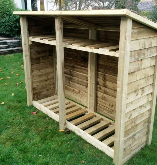 Gidleigh 6ft Double Bay log store with shelf