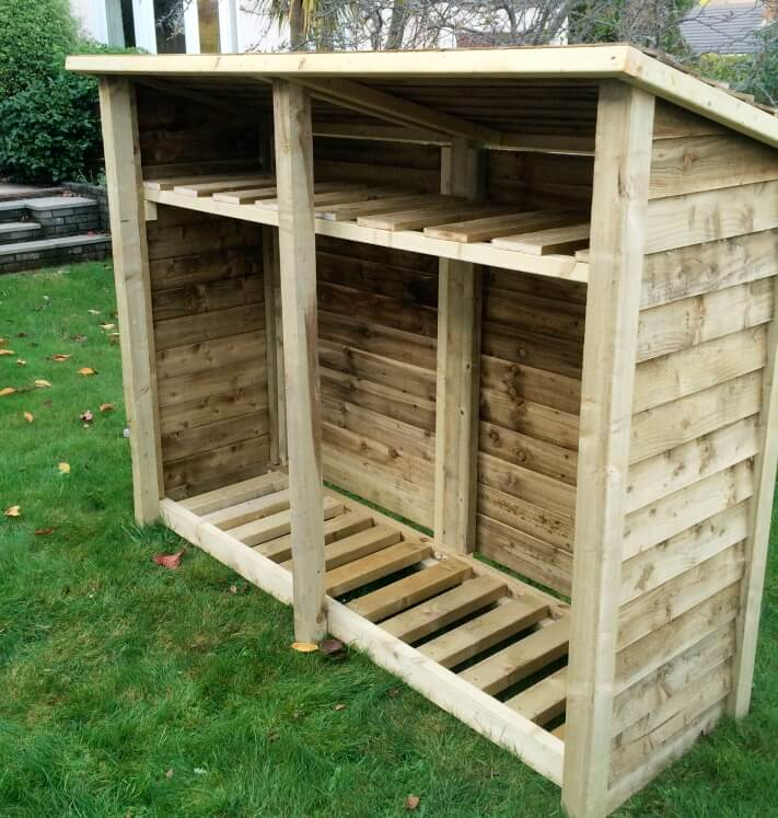Gidleigh 6ft Double Bay Log Store Firewood Storage
