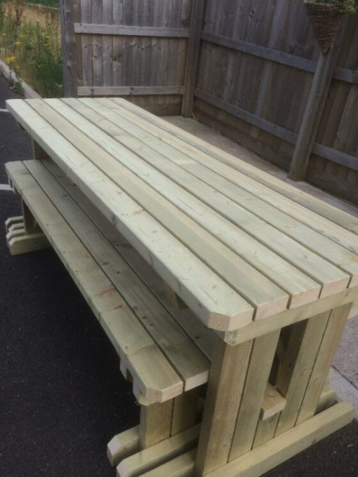 beer garden walk in table and bench set