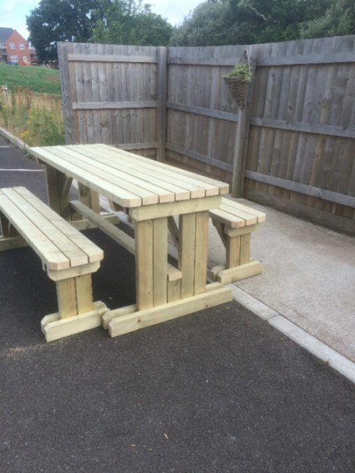 garden walk in table and bench set