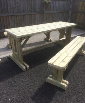 haleywood table and bench set