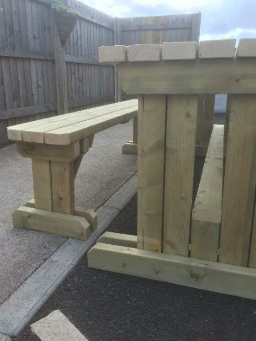 wooden walk in table and bench set