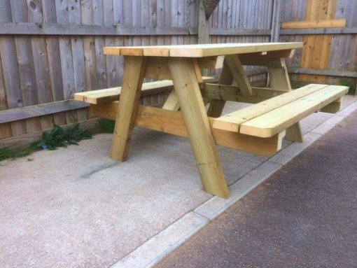 A-frame redwood picnic table Swedish