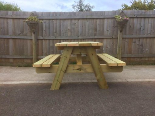 A-frame Swedish redwood picnic table