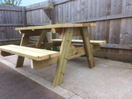 garden table Swedish redwood A-frame