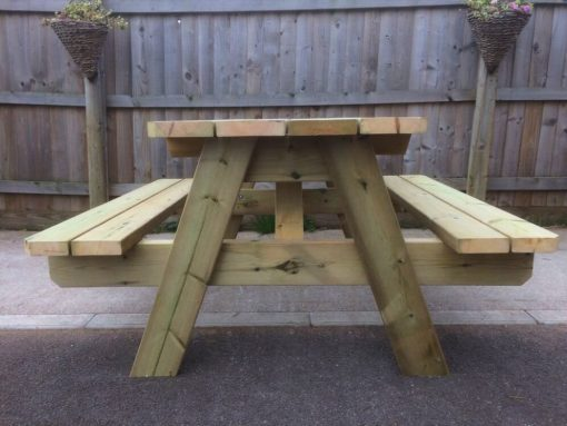 Swedish redwood A-frame picnic table